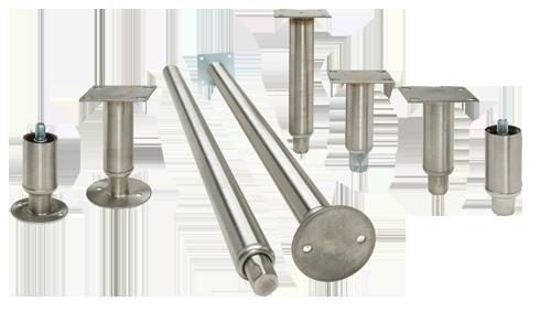 "Stainless Steel Equipment Leg 4"" adjustable to 5-1//2"" 1-5//8""  diameter Satin"