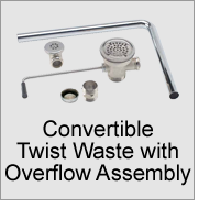 Convertible Twist Waste with Overflow Assembly